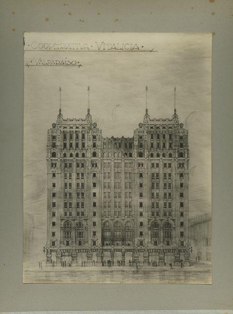 Dibujo, edificio Cooperativa Vitalicia