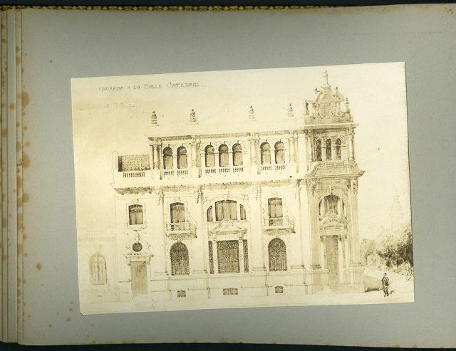 Dibujo, fachada de la calle Catedral