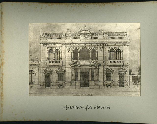 Dibujo, Caja Nacional de Ahorros, calle Colón