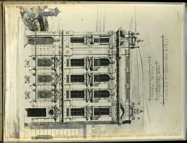 Dibujo, fachada de la Caja Nacional de Ahorros, calle Cochrane