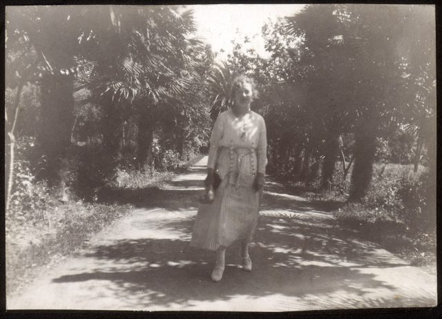 Mujer de pie en un camino de palmeras