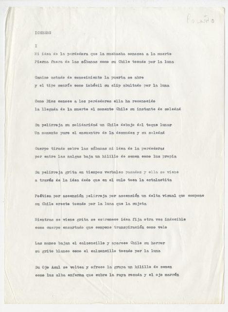 Poema Iceberg, de Roberto Bolaño