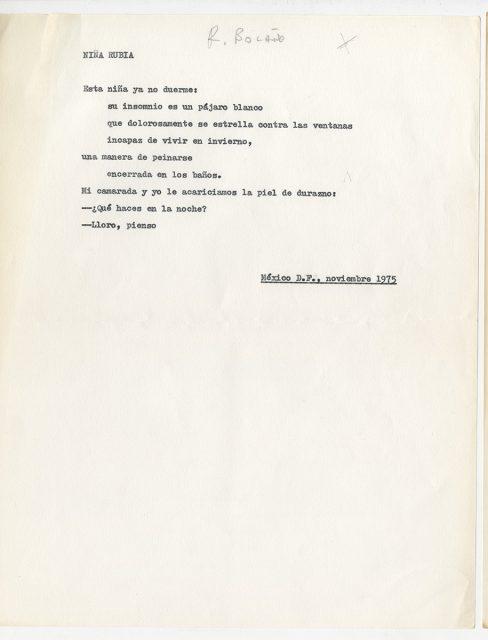 Poema Niña Rubia, de Roberto Bolaño