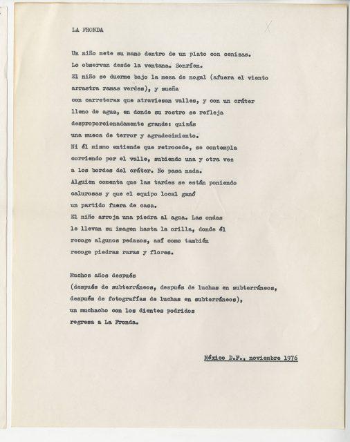 Poema La Fronda, de Roberto Bolaño
