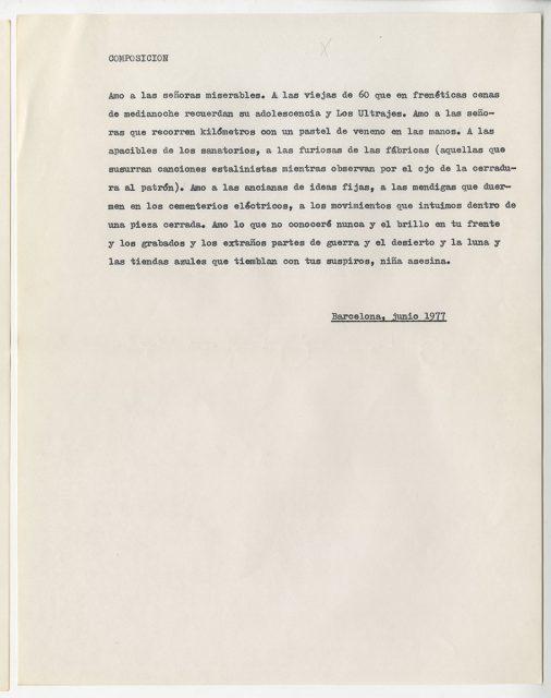 Poema Composición, de Roberto Bolaño