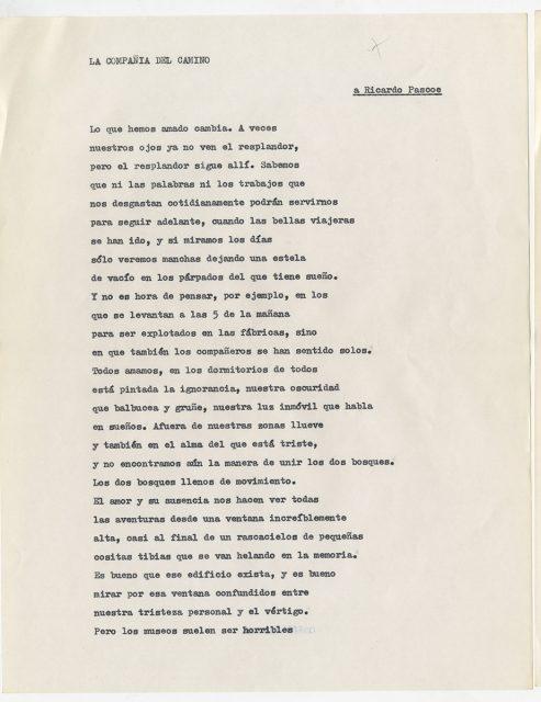 Poema La compañía de camino de Roberto Bolaño