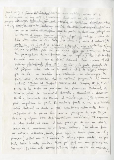 Carta de Roberto Bolaño a Soledad Bianchi