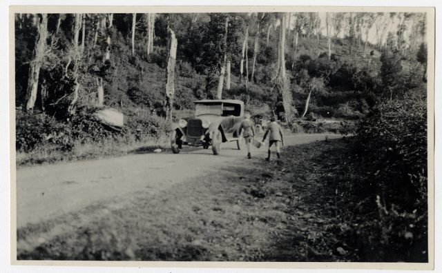 Niños caminando hacia un auto