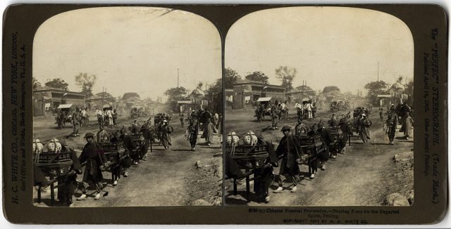 «Chinese funeral procession – Bearing food for the departed spririt, Peking»
