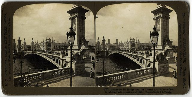 «Alexander III Bridge and the Liberal Arts palace of the Invalides, Paris Exposition 1900»