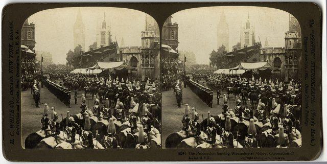 «The procession leaving Westminster Abbey, coronation of Eduardo VII»