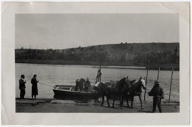 Transporte de caballo de una orilla a otra