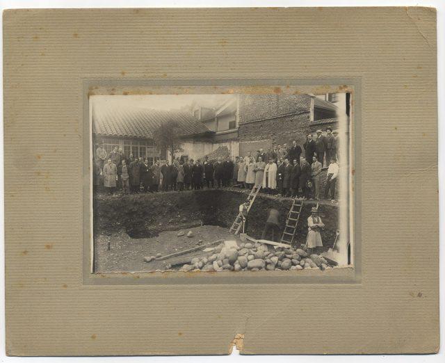Colocación de la primera piedra del Pabellón de la sección cartográfica del Instituto Geográfico Militar