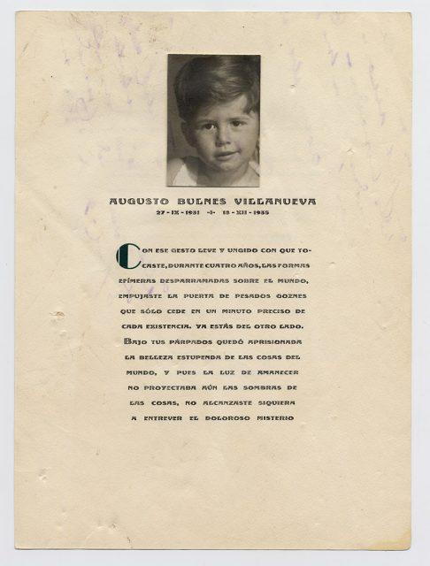 Parte de defunción de Augusto Bulnes Villanueva