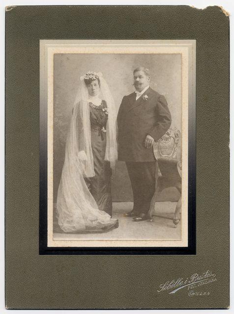 Juan E. Gutiérrez y Melania R. de Gutiérrez el día de su matrimonio