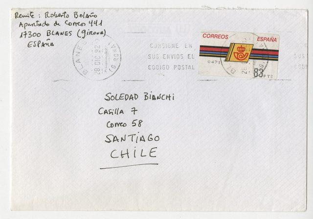 Sobre y carta de Roberto Bolaño a Soledad Bianchi