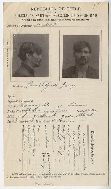 Extracto de filiación de Luis Salgado Yáñez.