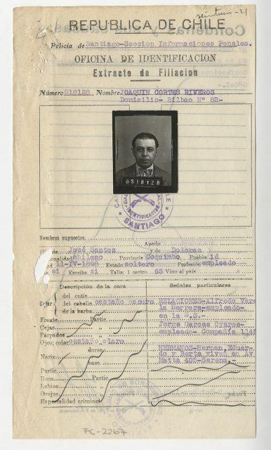 Extracto de filiación de Joaquín Cortés Riveros.