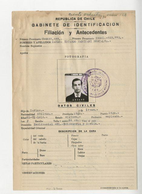 Filiación y antecedentes de Carlos Eduardo Marchant Montalva.